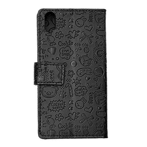 """MOONCASE iPhone X Flip Cover, [Cartoon Pattern] Brieftasche Leder Handyhülle Dauerhaft Stoßfest Ständer Schutz Case für iPhone X 5.8"""" Hotpink Schwarz"""
