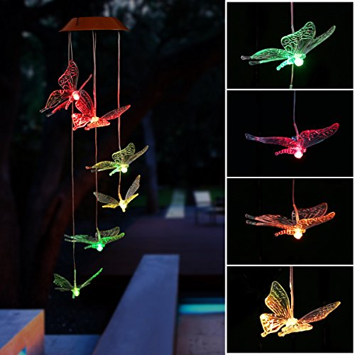 Solar LED Wind Chime Butterfly G...