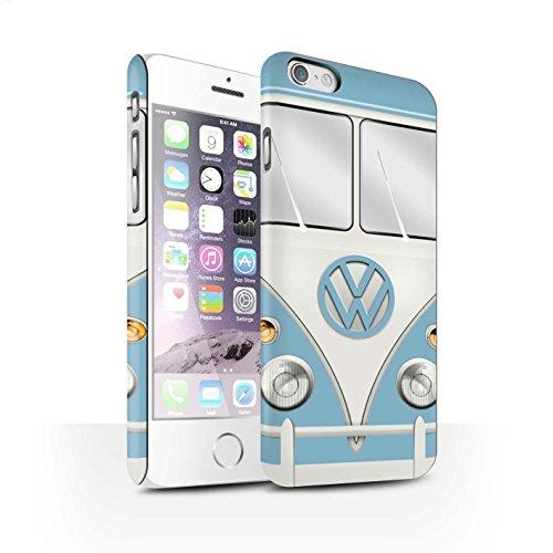 STUFF4 Matte Snap-On Hülle / Case für Apple iPhone 6 / Perlweiss Muster / Retro T1 Wohnmobil Bus Kollektion Fjord Blau