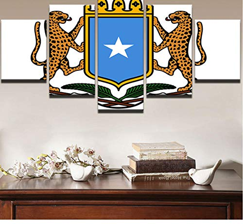 Hanjiming Modern Home Decor African Leopard Pictures HD Printed 5 Pieces Somalia Badge Canvas Painting Wall Art Flag Poster -
