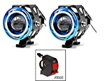 #4: AutoSun 2 Pieces U11 CREE-LED - Head Hunters LED Projector 3000LMW Headlight Fog Lamp (Dual Ring Red Blue) Fog Light Free 1 PC Switch