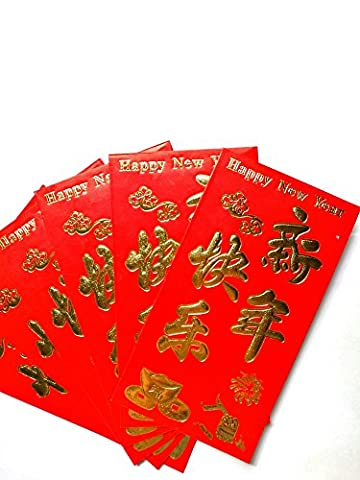 16cm Rouge chinois Lucky Money Lot de 6Enveloppes: Happy New Year