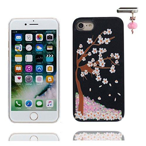 iPhone 6 Custodia, Bling Glitter ultra sottile / Case iPhone 6s Copertura / Shock Dust Resistant Shell iPhone 6 Cover 4.7 & tappi antipolvere / Fiore di prugne fiore Nero 6