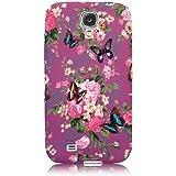 Xtra-Funky Exclusive - Carcasa protectora trasera para Samsung Galaxy S4 i9500/i9505 (silicona), diseño floral con mariposas B30-Purple Floral & Butterflies