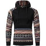 PHOTNO Sweater Sweatshirt Pullover Men, Mens Long Sleeve Hoodie Sweatshirt Tops Jacket Coat Outwear (Asian M, Black)