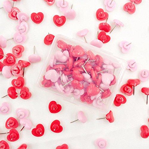 50 Stücke Reißzwecken Push Pins Herz Stecknadeln Pinnadel Rosa für Landkarte Pinnwand DIY Karte Nagel Pinnadeln und Büro Dekoration