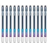 Tintenroller radierbar 0,7 mm Spitze – Schwarzer nachfüllbarer radierbarer Kugelschreiber – 12er Set Ezigoo - 9BL000