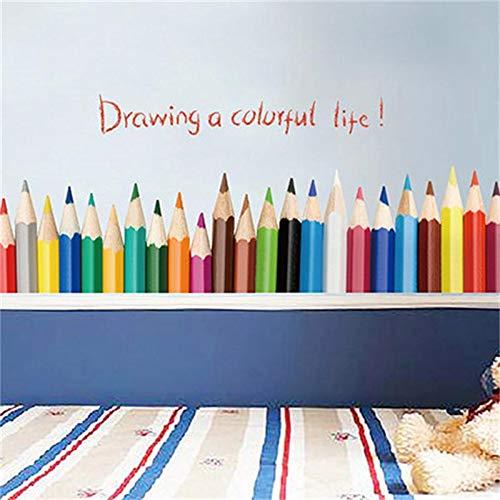 Dokfh Zeichnung ein buntes LebenWandaufkleber für Kinderzimmer bunte Bleistift Wandtattoos Kunst Kindergarten Kinder Kunst Raum Raum Dekor Poster