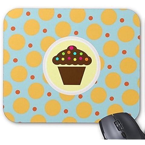 Fly Personalized Mouse Pad personalizzato Mousepad Cupcake a pois, colore: arancione/blu/giallo per Mouse