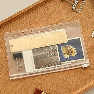 Ainstsk 5Pcs Self Sealing Bag, A5/A6/A7 File Holder Standard 6 Holes Transparent PVC Loose-Leaf Pouch With Self-Styled Zipper,Refills Binder Pocket Business Card Organiser Holder Storage Bag (A6)