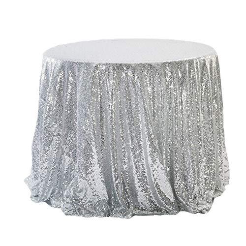 YFCH Rund Pailletten-Stoff Tischtuch Tischdecke Tischwäsche für Geburtstage Hochzeit Party Event, Silber, ø 120cm