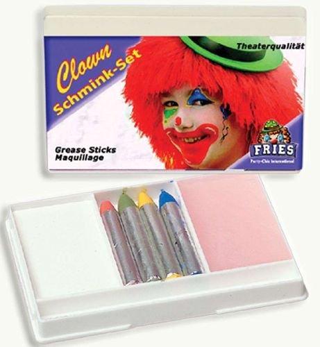 Schminkset Clown 6tlg. Clownset Foundation + 4 Schminkstifte + Abschminke Karnevals - Schminke