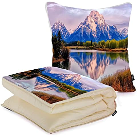 i FaMuRay Fall Grand Lake Landscape Moran Mount Mountains Cuscino e Coperta da Viaggio