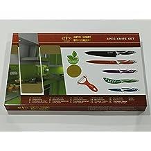 Swiss - Juego de 5 cuchillos de acero inoxidable, de colores, pelador gratis