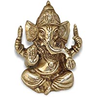 "Ganesh, Ganpati, latón Estatua India mano Craf Ted Religioso Escultura de Ganesha, aspecto envejecido latón macizo Escultura Artefactos, vino de lectura decorativa, Valioso Colección, latón acabado, mano religioso regalo,, 2.5"" Der Ganesha"