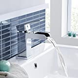 Chrome Waterfall Basin Sink Mixer Tap Modern Luxury Bathroom Lever Faucet