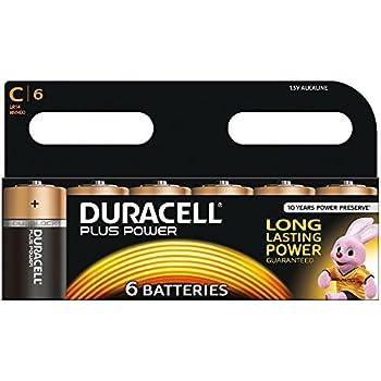 Duracell Plus Power Pack de 6 Piles Alcaline Taille C Multicolore