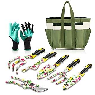 Eslibai - Gartenwerkzeug Set, Gartengeräte 9 in 1 mit Blumendesign, Aluminiumlegierung, Rutschfester Griff, Durable Tragetasche, 6 STK Werkzeuge, für Gartenarbeit