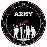 Huppme Army Round Glass Clock