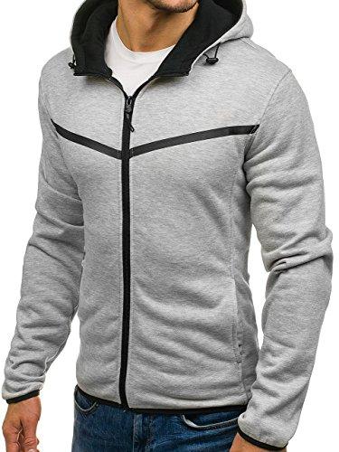 BOLF Herren Sweatshirt mit Kapuze Reißverschluss Pullover Basic sportlicher Stil Mix 1A1 Grau_AK74