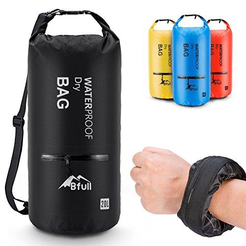 Bfull Dry Bag, 5L/10L/20L/30L/40L Leicht Wasserdichte Tasche/Trockensack mit 2 Außentasche mit Reißverschluss und lang Verstellbarer Schultergurt für Boot und Kajak Wassersport.