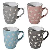 SET OF 4 STAR MUGS COFFEE TEA STONEWARE MUG CUP DRINKING GIFT KITCHEN CHOCOLATE