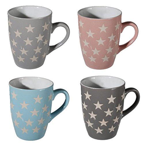 SET-OF-4-STAR-MUGS-COFFEE-TEA-STONEWARE-MUG-CUP-DRINKING-GIFT-KITCHEN-CHOCOLATE