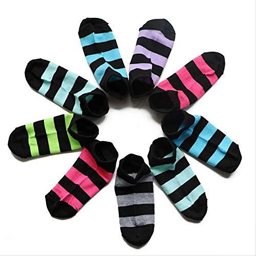 Gestreifte Low-cut-socken (TIANFGK 5 Paar Socken gestreifte Damen Socken Fluoreszenz lustige Kurze Socken weibliche Low Cut Ankle Slippers Shallow Mouth Socken Chaussettes Femmes)