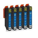 5 Druckerpatronen kompatibel zu Epson 33-XL (Cyan) passend für Epson Expression Premium XP-530 XP-540 XP-630 XP-635 XP-640 XP-645 XP-830 XP-900