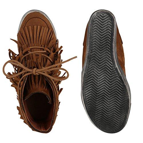 Damen Lederoptik Sneakers Ethno Sportschuhe Hellbraun Fransen Keilabsatz PxP0qwzr