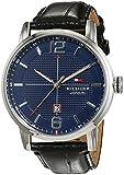 Tommy Hilfiger Watches - 1791216 - Montre Homme - Quartz Analogique - Cadran Bleu - Bracelet Cuir Noir