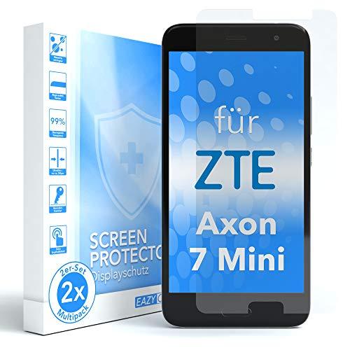 EAZY CASE 2X Panzerglas Bildschirmschutz 9H Härte für ZTE Axon 7 Mini, nur 0,3 mm dick I Schutzglas aus gehärteter 2,5D Panzerglasfolie, Bildschirmschutzglas, Transparent/Kristallklar
