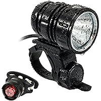LED Fahrradlicht, USB Wiederaufladbar Taschenlampe Frontlicht Set Super Helle 1200 LM Wasserdichte LED Fahrradbeleuchtung mit Akku-Pack und Rücklicht