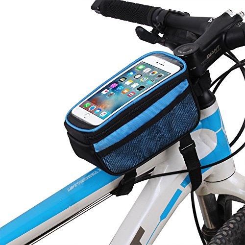 Demiawaking Fahrradtasche Rahmentaschen, Wasserdichte Fahrradrahmentasche & Handyhalterung Blau
