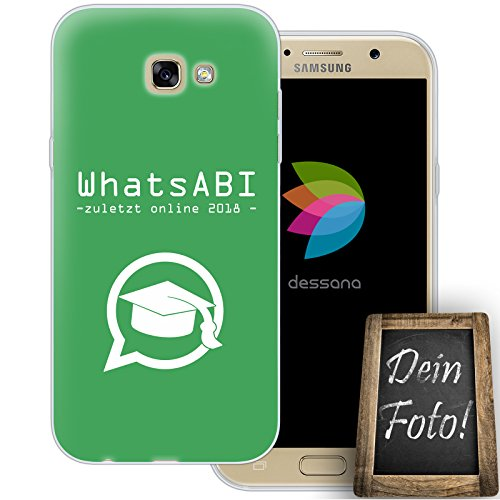 dessana Abi Motto Handyhülle Abitur Abschluss Personalisiertes Geschenk dünne Silikon TPU Case Eigenes Foto Motiv für Samsung Galaxy A7 (2017) Ohne Text