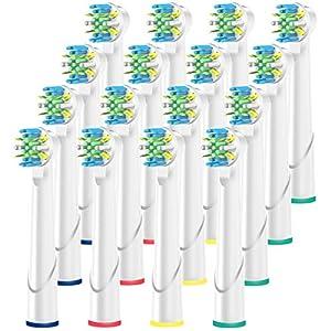 ITECHNIK Aufsteckbürsten für Oral B Aufsatzbürsten Ersatz, Ersatzbürsten Action Floss kompatibel mit Oral-B Zahnbürste Elektrische Handstück, Zahnbürsten Aufsätze 16er