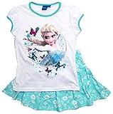 Frozen - Die Eiskönigin T-Shirt und Rock Kollektion 2018 Set 98 104 110 116 122 128 Mädchen Kurzarmshirt Anna und ELSA Disney (104, Weiß-Blau)