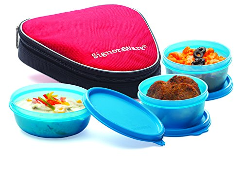 Signoraware Sleek Lunch Box with Bag Set, 3 Pieces, Blue
