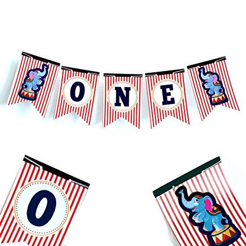 evalshochstuhl, Zirkusgeburtstag, 1 Banner zum 1. Geburtstag, 1 Hochstuhl-Banner, Party-Dekoration, Zirkus-Party-Zubehör 1. Geburtstag ()