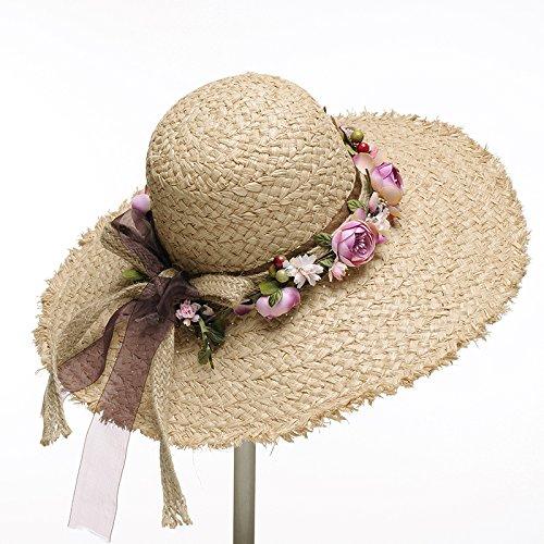 GAOQQ Sombrero De Paja De Playa De Verano Sombreros De Paja De Rafia Corona  De Corona 4941253f580a
