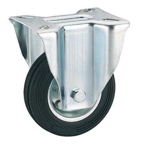 Dörner + Helmer 713172 Vollgummi-Bockrolle mit Rollenlager 125 x 37 mm/Platte 100 x 85 mm