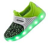 【2016 NEW RELEASE】Shinmax Primavera-Verano-Otoño Transpirable Zapatillas LED Nueva Led Zapatos de Deporte de Zapatillas LED Niños de 7 Colores LED con CE Certificado 00123 (30, Verde)
