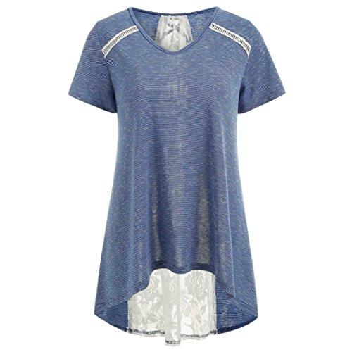 TIFIY Mode Frauen Gestreifte Spitze Panel Bandage Verzierte Bluse Casual High Low Hem Tops Kleidung (Verziert V-neck Pullover)