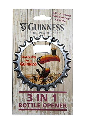 Guinness 3-in-1 Flaschenöffner, Kühlschrankmagnet und Untersetzer mit Tukan Design (Guinness Flaschenöffner Magnet)