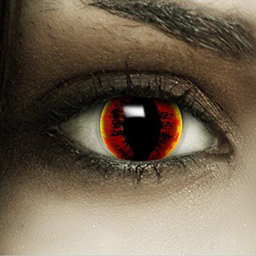 Farbige rot gelbe Kontaktlinsen