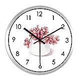 XPY-wall clock Wanduhr Silent Home Decoration Glasspiegel, 12 Zoll,Schwarze Nadel Silberrahmen