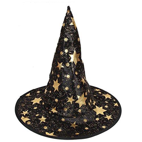Themen Kostüme Halloween Geschichte (JIANGFU Halloween-Hexenhut fünfzackigen Stern,1Pcs Monolayer Erwachsene Womens Hexe Hut für Halloween Kostüm Zubehör)