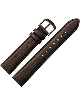 Uhrenarmband 14mm Leder braun Rindsleder, genarbt, mit Naht - Uhren Ersatzarmband mit farblich angepasster Schließe...