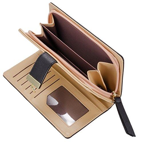 Abbigliamento donna borsa in pelle di moda portafogli foglia d'oro Hollow grande capacità borsa Portafoglio (Blu) Rosa
