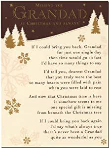 Missing Dad At Christmas.Grave Card Grave Card Missing You Grandad At Christmas And Always Free Card Holder C119